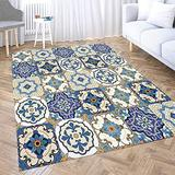 Dethel Chic Area Rug,Royal Blue Area Rugs 5X7 Area Rugs Outdoor for Home Décor,Indoor,Living,Dining Room Area Rug Mat Pattern Oriental Style Weave Openwork Pattern Carpet