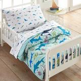 Wildkin Shark Attack Cotton 4 Piece Toddler Bedding Set 100% Cotton in Blue/Green | Wayfair 624701