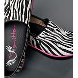 SMITTEN Women's Clog Shoe Animal Patent Leather with Shock-Absorbing Memory Foam Footbed, Zebra Print, 37