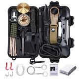 25 in 1 Survival Gear Kit, Famistar Emergency Survival Gear and Equipment , Professional Tactical Defense SOS Equitment Tool with Compass Knife Blanket for Outdoors Sports