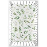 Sweet Jojo Designs Floral Leaf Girl Fitted Mini Crib Sheet Baby Nursery for Portable Crib or Pack and Play - Green and White Boho Watercolor Botanical Woodland Tropical Garden