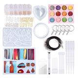 SimLim 199 PCS Resin Molds,with Jump Rings, Keychains Resin Drill for Resin Casting Making Keychain,Pendant,Bracelet