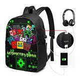 Cute-Ge-Ometry USB Backpack 17 in Shoulders Bags Laptop School Knapsack Daypacks Travel Women Men