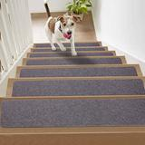 """Non Slip Carpet Stair Treads,Set of 15,Self Adhesive Stair Runner for Safety and Beauty,Safety Felts Carpet for Kids Elders and Dogs,8"""" x 30"""" (Dark Gray)"""