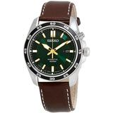 Kinetic Green Dial Brown Leather Watch - Green - Seiko Watches