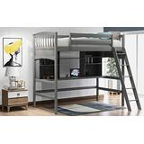 Loft Bed with Desk, Loft Bed for Kids and Teenagers, Twin Size. (Gray)