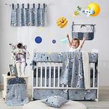 Brandream Outer Space Crib Bedding Sets for Boys Galaxy Baby Bedding Astronaut Bedding Gray Baby Boys Nursery Bedding Set, 100% Hypoallergenic Soft Cotton (9 Pieces)