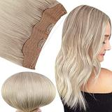 Fshine Invisible Hair Extensions Human Hair Clip in One Piece 80Gram Hidden Hair Extensions Crown Human Hair Ash Blonde Fading to Platinum Blonde 16Inch Headband Hair Extensions for Women