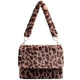Leopard Faux Fur Flap Bag for Women Chain Strap Shourder Purse Cross-body Handbag