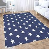 Abstract Area Rug,Shorping Christmas Rug Holiday Décor Santa Claus Area Rug 2X3 Ft Area Rugs USA Flag Pattern White Stars Blue Background Memorial Day Indoor Outdoor Rug Rugs for Living Room