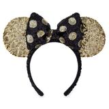 Minnie Mouse Sequined Ear Headband with Bow Black and Gold - Official shopDisney®