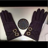 Coach Accessories | Beautiful Purple Rain Leather Coach Gloves | Color: Purple | Size: 6.5