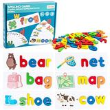 Refasy Educational Toys for 4 Year Old,Matching Letter Games See and Spell Learning Toys Sight Word Games for Toddlers Flash Cards Alphabet Puzzle Preschool Toys for Kids Spelling Games Ideal Gifts