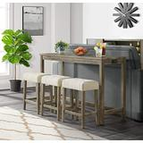 Cambridge Wyeth Dining 4-Piece Bar Set with Table and 3 Stools, Natural Rustic