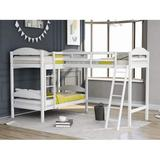 Twin Loft Bed for Kids, Wood Loft Bed L-Shaped Corner Bunk Bed Frame 3 Bed Bunk Loft Bed with Full Guardrails and Flat Ladder (White)