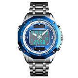 VIGOROSO Men's Solar Powered Quartz Stainless Steel Analog Digital Sport Wrist Watch