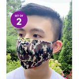 JC Sunny Fabric Face Masks - Brown & Black Camo Triple-Layer Non-Medical Face Mask - Set of 2