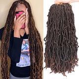 Xtrend 6 Packs New Faux Locks Braids Hair Extensions 18 Inch Wavy Faux Locks Crochet Braiding Hair Pre-Looped Synthetic Braiding Hair Extend Wavy Locs Crochet Hair For Women 1B/30#