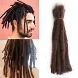 "Afro Kinky Human Hair Dreadlocks Extensions Full Handmade Crochet Loc Human Hair Extensions Dread Lock Human Hair Bundles 20 Stands 12"" Dark Brown 80g"