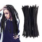 "Afro Kinky Human Hair Dreadlocks Extensions Full Handmade Crochet Loc Human Hair Extensions Dread Lock Human Hair Bundles 20s 12"" Natural Black 80g Can Be Dyed"