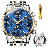 OLEVS Mens Watches Automatic Skeleton Original Mechanical Movement Slef-Wind Six-pin Luxury Stainless Steel Waterproof HD Luminous Day-Date-Month Big Face Wrist Watch Gift (Gold Blue)