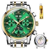 OLEVS Mens Watches Automatic Original Mechanical Movement Slef-Wind Six-pin Luxury Stainless Steel Waterproof HD Luminous Day-Date-Month Big Face Wrist Watch Gift (Gold Green)