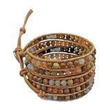 My Gems Rock! Women's Bracelets Green - Amazonite & Picture Jasper Beaded Wrap Bracelet