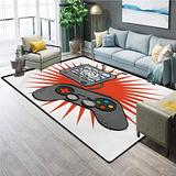 Boys Room Non Slip Rug pad Farmhouse Kitchen Rugs Video Games Themed Design in Retro Style Gamepad Console Entertainment for Children Bedroom Home Decor Nursery Rug Orange Grey White W2x L3 Ft