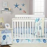 Brandream Baby Boy Crib Bedding Sets Nautical Nursery Bedding Beach Theme Cotton Blanket Set with Starfish Seashell Diaper Stacker, Blue White Summer Baby Bedding with Ocean Animal