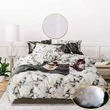 Jumeey Geometric Comforter Set King Women White Marble Bedding Sets for Girls Abstract Grey and Gold Plaid Comforter King for Teen Men Boys Art White and Grey Comforter Bedding Sets King Size