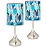 Blue Tiffany-Style Giclee Droplet Table Lamps Set of 2