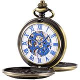 SIBOSUN Men's Mechanical Roman Numerals Dial Skeleton Pocket Watches with Box and Chains for Mens Women Double Cover (1 Blue Numerals, Brone Case, White Dial)