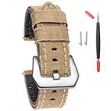 24mm Canvas Watch Bands, Watch Bands for Men Women, Quick Release Handmade Cowboy Casual Watch Strap Soft Vintage Replacement