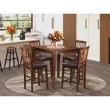 Andover Mills™ Tybalt 5 - Piece Counter Height Rubberwood Solid Wood Dining SetWood/Upholstered Chairs in Brown/Red | Wayfair