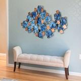 Latitude Run® Mesh Hand Painted Etched Metal Wall Decor Metal in Blue, Size 26.0 H x 48.8 W x 2.8 D in | Wayfair 334403C650634777AA68D58DDB2E9434