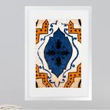 Three Posts™ Moroccan Blue Tile - Picture Frame Graphic Art Print on Paper Paper in White, Size 36.0 H x 24.0 W x 0.75 D in | Wayfair