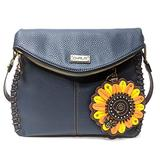 Chala Charming Crossbody Bag - Flap Top and Metal Key Charm in Navy Blue, Cross-Body or Shoulder (Coin Purse_Sun Flower)