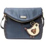 Chala Charming Crossbody Bag - Flap Top and Metal Key Charm in Navy Blue, Cross-Body or Shoulder(Coin Purse_ White Bird)