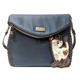 Chala Charming Crossbody Bag - Flap Top and Metal Key Charm in Navy Blue, Cross-Body or Shoulder (Coin Purse_Slim Cat)