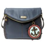 Chala Charming Crossbody Bag - Flap Top and Metal Key Charm in Navy Blue, Cross-Body or Shoulder Purse(Coin Purse_Anchor)