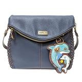 Chala Charming Crossbody Bag - Flap Top and Key Charm in Navy Blue, Cross-Body or Shoulder (Coin Purse_Dolphin)