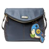 Chala Charming Crossbody Bag - Flap Top and Metal Key Charm in Navy Blue, Cross-Body or Shoulder (Coin Purse_Blue Bird)