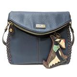Chala Charming Crossbody Bag - Flap Top and Key Charm in Navy Blue, Cross-Body or Shoulder (Coin Purse_Schnauzer)