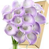 FiveSeasonStuff Real Touch Calla Lily Artificial Flowers Wedding Bridal Bouquet   Floral Arrangements   15 Calla Lilies (Silk White & Purple Mauvelicious)