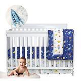 Brandream Baby Boys Crib Bedding Sets Outer Space, Rocket & Planet & Astronaut Nursery Bedding Set,3 Piece Baby Infant Newborn Crib Comforter Sets 100% Cotton, Navy/White