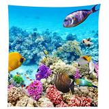 QCWN Fish Tablecloth,Coral Reef Scallop Shells Fish Sea Plants Sea Animal Underwater Tropical Fish Sealife Table Cloth,Dining Room Kitchen Rectangular Table Cover