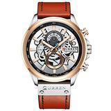 Business Men Fashion Quartz Watches Leather Strap Sport Waterproof Wristwatch Chronograph Clock Male Creative Design Dial (Orange Silver)