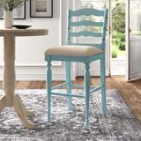 Kelly Clarkson Home Croix Bar & Counter StoolWood/Upholstered in Blue, Size 39.5 H x 19.75 W x 22.75 D in   Wayfair