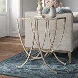 Kelly Clarkson Home Royse Antiqued Glass Top Cross Legs End Table Glass in Gray, Size 27.25 H x 24.0 W x 18.0 D in   Wayfair HOHN7835 32174939