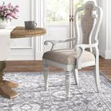 Kelly Clarkson Home Upholstered Queen Anne Back Arm Chair in Ivory Tweed ChenilleUpholstered/Fabric in Brown/White, Size 45.0 H x 26.0 W x 25.0 D in